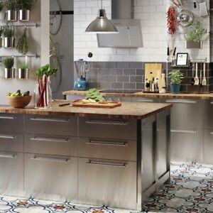 Ikea Grevsta edelstahl Schubladenfront Set für Metod 80x60, 1x 80x40 + 2x 80x20