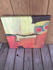 Werzalit Commercial Indoor/Outdoor Patio Table Tops Red Yellow Modern Art