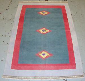 "Handmade Fine Vintage Indian Durrie Kilim 185cm x 120cm 6'0""x3'11"""