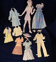 Carol 1940s FASHION CLOTHING VINTAGE PAPER DOLL OUTFITS & DRESSES CUT-OUTS LOT