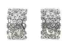 Platinum Openwork Diamond Wide Hoop Earrings with 1.75 ct Diamonds - HM1488