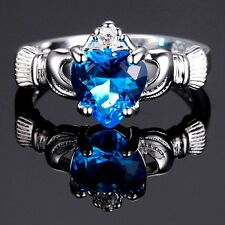 Silver Plated Claddagh Heart With Blue Cubic Zirconia Ring Various Sizes