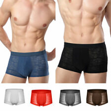 Sexy Men's Boxershorts See-through Breathable Male Boxers Ice Silk Mesh Panties