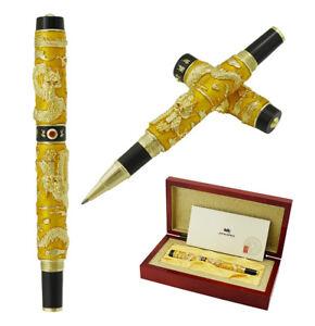 Jinhao Double Dragon Rollerball Pen  Yellow Cloisonne Enamel Handcraft Gift Box