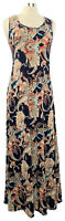 ATTITUDES by Renee Size PS Blue Paisley Stretch Knit Sleeveless Maxi Dress