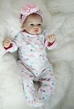 "silicone reborn baby doll 22"" lifelike soft vinyl With Clothes lifelike Full New"
