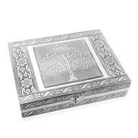 Handcrafted Aluminium Tree of Life Embossed Jewelry Organizer Box Storage