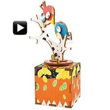 3D Wooden Puzzle Bird & Tree Crank Music Box Robotic Robotime Jigsaw DIY Wood
