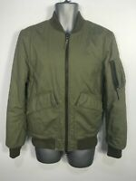 MENS LOOM SIZE SMALL KHAKI GREEN COTTON ZIP UP PADDED CASUAL BOMBER JACKET COAT