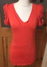 Ladies Size 12 Coral Orange Short Sleeved Lace Slash Back Top NWT