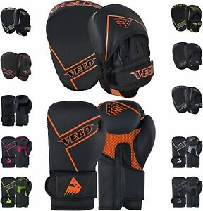 VELO Boxing Pads and Gloves Set, Matt Leather Hook and Jab Training Pads