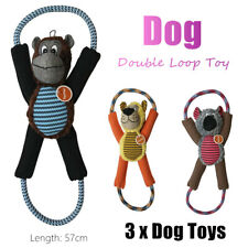 3x Squeaky Sound Dog Tug Toys Interactive Puppy Teeth Training Rope Chew Play