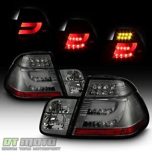 Smoked 99-01 Bmw E46 3-Series 4Dr Led Perform Tail Lights w/Led Strip
