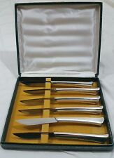 6 Vintage 1847 ROGERS BROS Silver Plated Knives Miracle Edge W Box