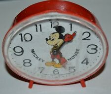 Vintage Red Plastic Mickey Mouse Small Child's Alarm Clock NEEDS FIX Rare