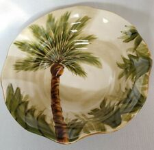 "Tabletops Lifestyles Kona Palm Tree Scalloped Serving Bowl 11"" Hand Painted"
