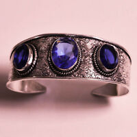 """Natural Blue Sapphire Vintage Style.925 Sterling Silver Jewelry Bracelet 7-8"""""""
