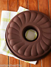 """10"""" / 250mm Fluted Savarin Ring Cake Silicone Bakeware Mould Jelly Mold Pan Tin"""