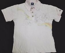 HANG TEN POLO T SHIRT Blue Tag Label Wooden Button Hawaii Surf Rainbow Scenic