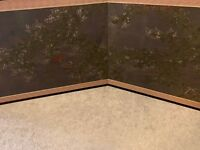 antique japanese folding screen two panel with flowers vintage