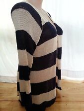 Crossroads Navy cream stripe Chevron light weave knit cardigan size 20 NEW