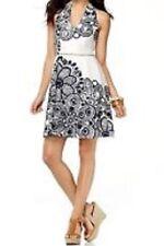 Nine West Petite Dress Sz 8P White Blue Sailboat Halter Cotton Casual Sundress