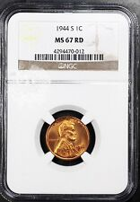 1944-S LINCOLN WHEAT EARS CENT NGC MS 67 RED - 012