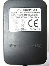 1 AMP 1000MA 15 VOLT 15VA AC/AC OUTPUT POWER ADAPTOR/SUPPLY/CHARGER/TRANSFORMER