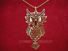 """Collier """"Gros Hibou"""" N° 2 Double Mouvance Owl Duc Forêt - Bijoux pur Bestiaire"""