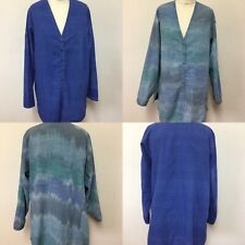 Blue Linen Jacket Reversible Casual Relaxed Pockets Summer