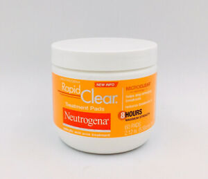 Neutrogena Rapid Clear Acne Treatment Pads w/ Salicylic Acid 60 Ct, Exp 12/2022