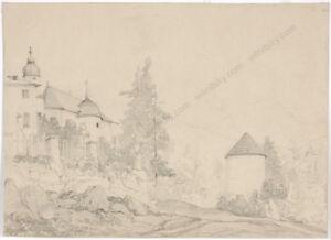 "Adolf Obermuellner ""Motive of Klausenburg (Romania)"" drawing 2nd half of 19th c."
