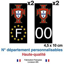 Stickers autocollant plaque d'immatriculation PORTUGAL FPF voiture Fond NOIR
