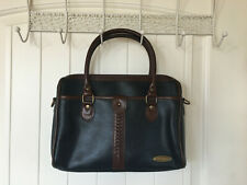 Vintage Liz Claiborne Navy Blue Pebble Leather Braided Trim Handbag