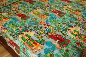 Gray Indian Frida Khalo Twin Size Cotton Kantha Quilt Bedspread Blanket Throw