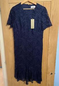 COAST RRP £119 LINERA LACE FLIPPY HEM dress NAVY BLUE LINED EVENING 16 NEW TAG