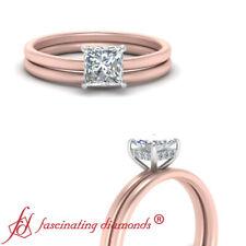 .75 Carat Princess Cut Diamond 2 Tone Delicate Shank Under Halo Wedding Ring Set