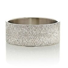 "STATELY STEEL WIDE 26MM STAINLESS STEEL CRYSTAL-COVERED 7.5"" BANGLE BRACELET HSN"