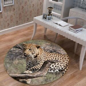 3D Grassland Wood Leopard R153 Animal Non Slip Rug Mat Round Elegant Carpet Zoe