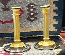 "Art Deco Candlesticks  Pillar style Yellow and Black 8"" tall"