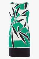 Roman Originals Women's Orange Leaf Print A Line Cotton Dress Sizes 10-20