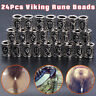 24Pcs Norse Viking Rune Beads Jewelry Making Fit Hair Beard Bracelet Necklace