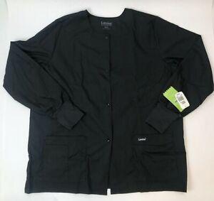 Landau Women's Black Size X-Large Snap Front Warm-up Scrub Jacket W/Defects