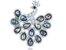 Women Abalone Shell Teardrop Feather Royal Peacock Bird Fashion Pin Brooch Gift