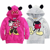 Kids Girls Boys Toddler Minnie Mouse Print Hooded Hoodies Sweatshirt Tops Casual