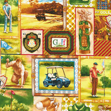 """Tee Time Golf Patch Scenic by Fabri-Quilt 100% cotton Fabric Remnant 33"""""""