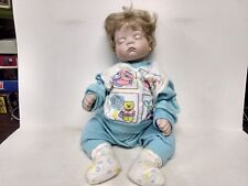 """Koltz Blonde Baby Boy Porcelain Doll 18"""" Tall In A Blue Jump Suit          ds317"""