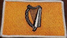 Irish Ireland Harp Flag Patch W VELCRO® Brand Fastener Gold & Black White Border
