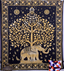 Thai Tree Elephant Wall Hanging Tapestry Elephant Boho Mandala Throw Bed Hippie