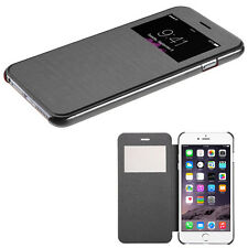 BLACK Flip Leather Wallet View Window Case Cover For Apple iPhone 6 PLUS 5.5 NEW